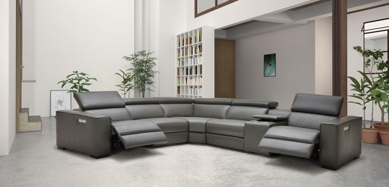 Full Italian leather recliner sectional in gray