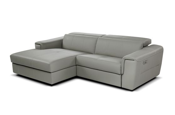 Top grain gray leather reclining contemporary sectional