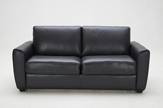 Black leather sofa w/ pull out sofa bed