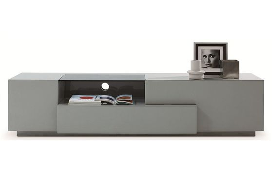 Modern Gray Lacquer TV Stand