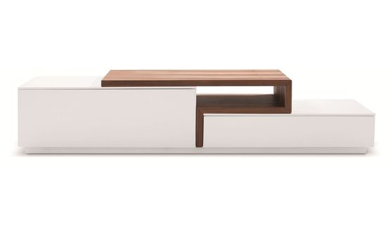 White lacquer / walnut wood modern TV Stand