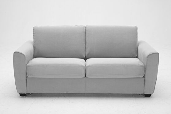 Light gray fabric pull-out sofa bed