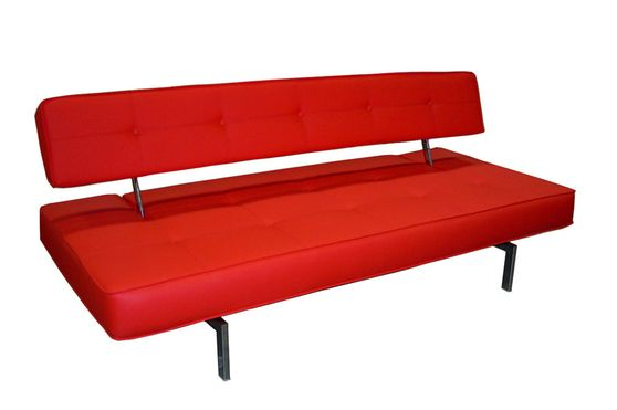 Elegant contemporary red sofa bed w/ tufted seat