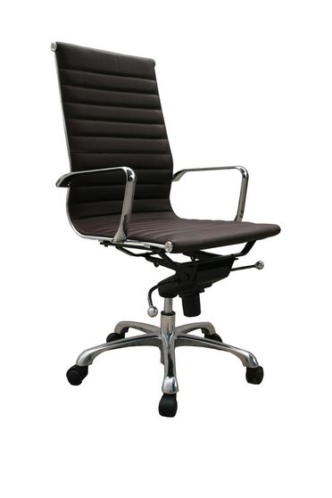 High back espresso leather modern office chair