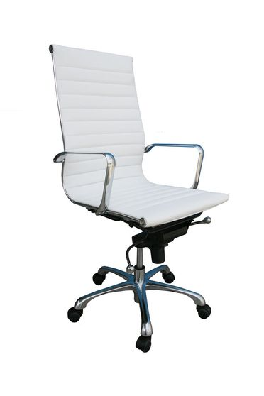 High back white leather modern office chair