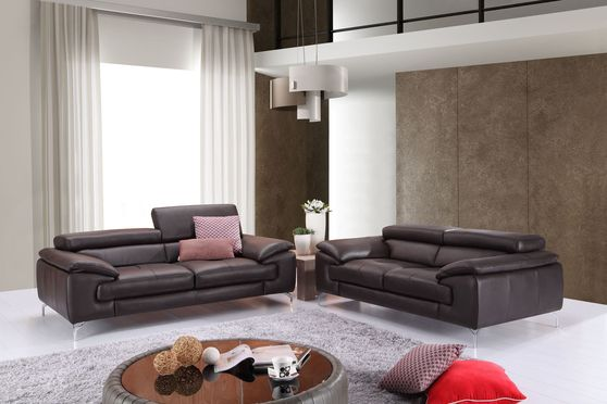 Brown italian leather sofa/loveseat set