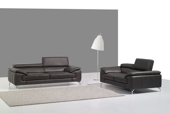 Gray italian leather sofa/loveseat set