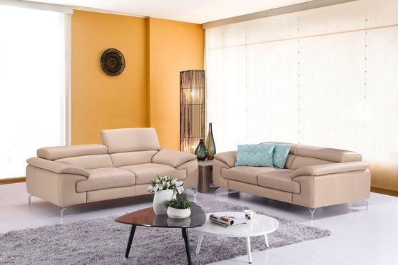 Peanut italian leather sofa/loveseat set