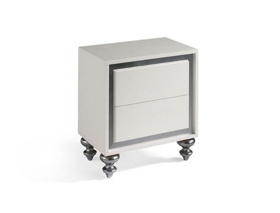 Silver accented veneer night stand