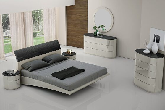 Contemporary platform king bed 5pcs set