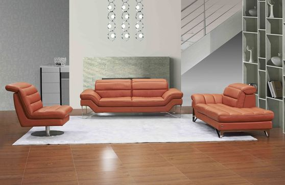 Low-profile contemporary orange sofa/love/chair set