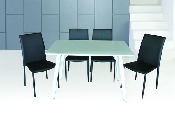 Black chairs + glass top table 5pcs casual set