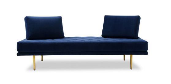 Blue fabric / gold metal legs sofa bed