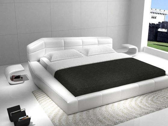White leather super low-profile platform bed