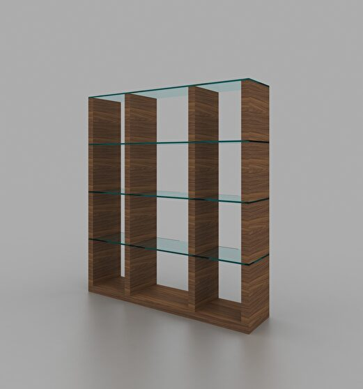 Walnut / glass contemporary style wall-unit