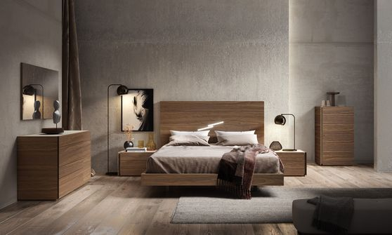 Modern walnut finish king bed in minimalistic style
