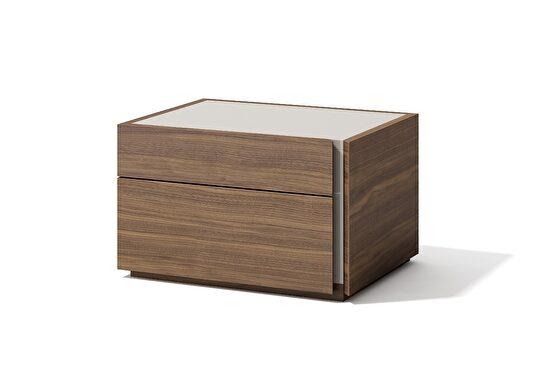 Modern walnut finish night stand in minimalistic style