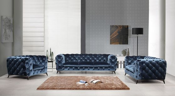 Glam style velour fabric tufted sofa/loveseat/chair set