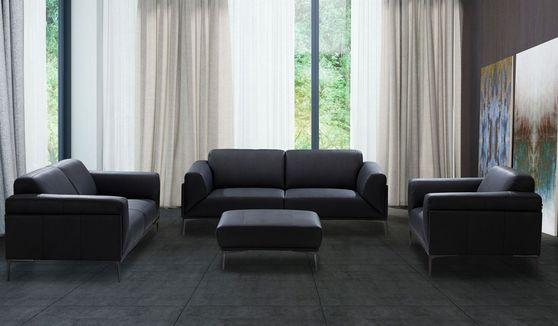 Black leather modern sofa
