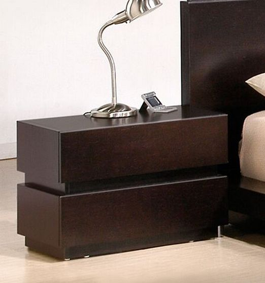 Brown quality wood low-profile night stand