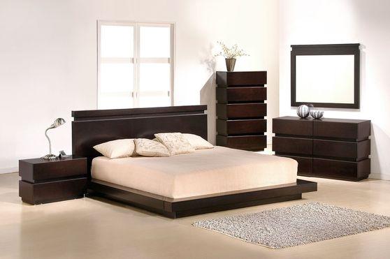 Brown quality wood low-profile 5pcs bed set