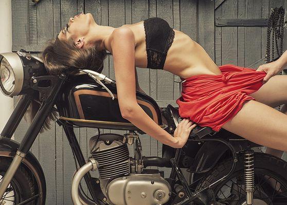 Motorcycle woman premum acrylic wall art