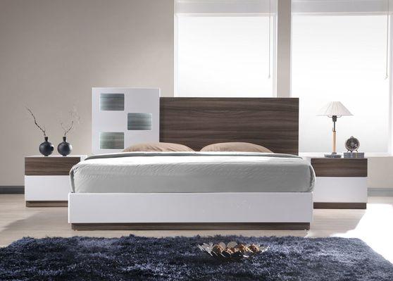 Walnut veneer / white lacquer queen bed 5pcs set