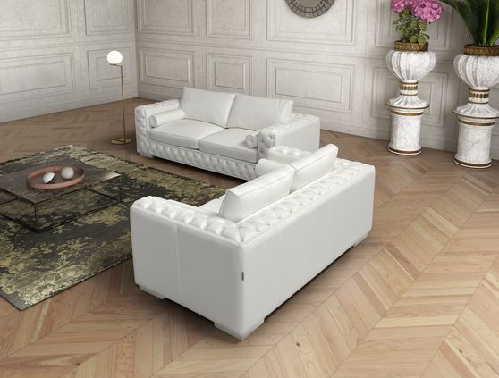 Italian white leather 2pcs sofa set