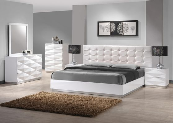 White contemporary bed w/ platform and long hb