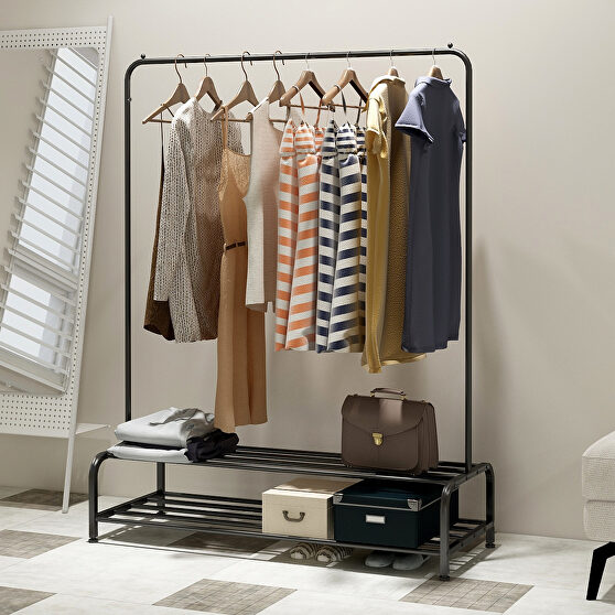 Clothing garment rack with shelves, black metal cloth hanger rack stand clothes