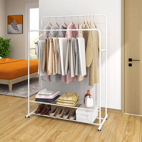 Garment rack freestanding hanger double rods multi-functional bedroom clothing rack