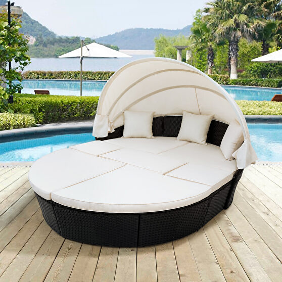 Beige outdoor rattan daybed sunbed with retractable canopy wicker furniture, round outdoor sectional sofa set