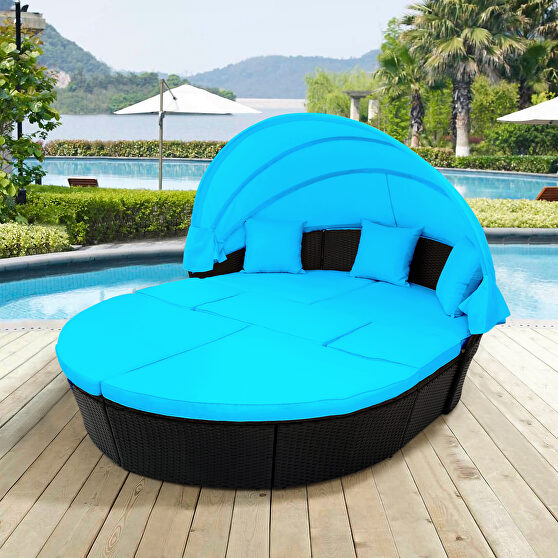 Blue outdoor rattan daybed sunbed with retractable canopy wicker furniture, round outdoor sectional sofa set