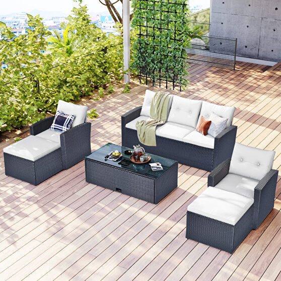 6-piece all-weather wicker pe rattan patio outdoor dining conversation sectional se