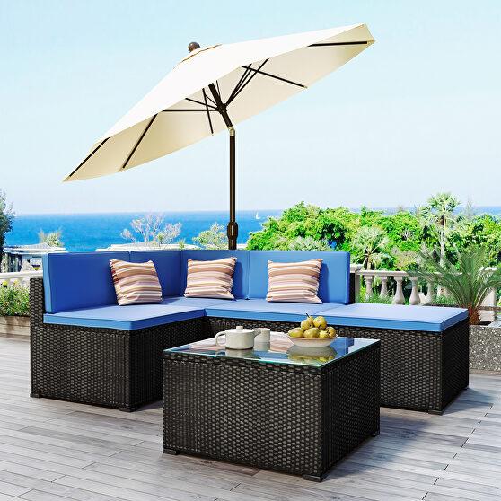 5-piece patio rattan pe wicker furniture corner sofa set