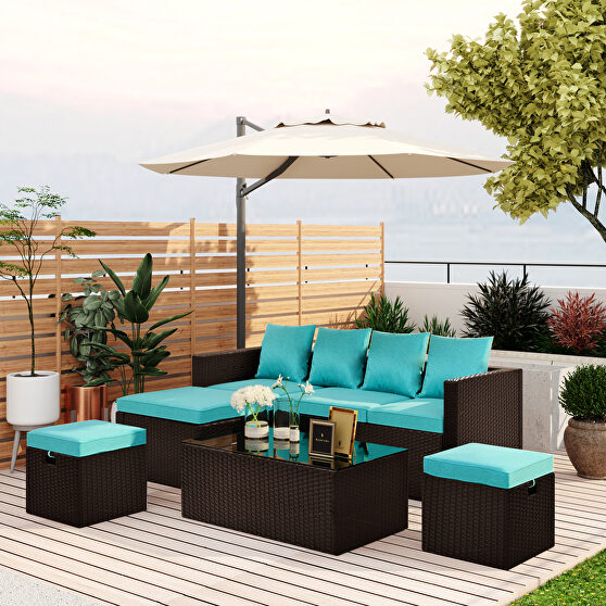 5-piece patio furniture pe rattan wicker sectional lounger sofa set with glass table and adjustable chair
