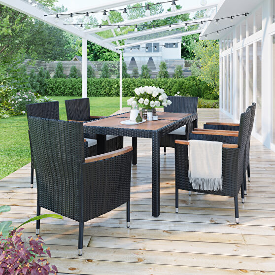 7-piece outdoor patio dining set, garden pe rattan wicker dining table and chairs set