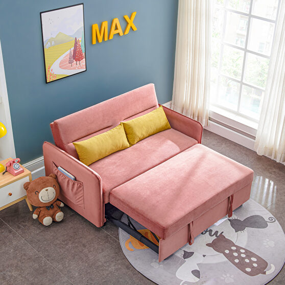 Pink compact soft velvet sofa bed pull-out sleeper 2 seater functional bed