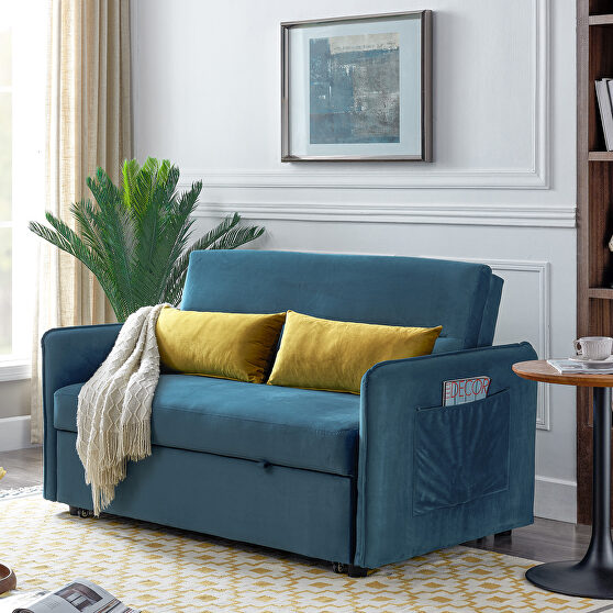 Blue compact soft velvet sofa bed pull-out sleeper 2 seater functional bed