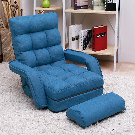 Blue folding lazy sofa floor chair sofa lounger bed with armrests and a pillow