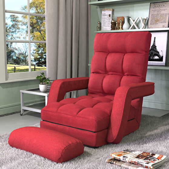 Red folding lazy sofa floor chair sofa lounger bed with armrests and a pillow