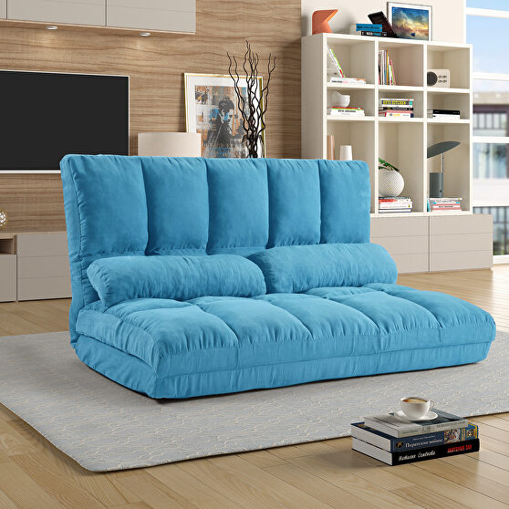 Blue double chaise lounge sofa floor couch and sofa with two pillows