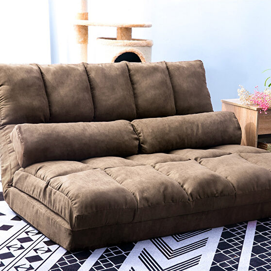 Brown double chaise lounge sofa floor couch and sofa with two pillows