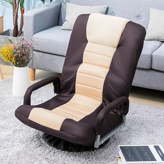 Brown swivel video rocker gaming adjustable 7-position floor chair