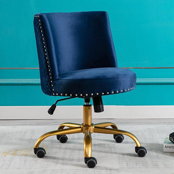 Navy velvet home office swivel desk chair