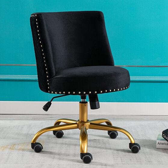 Black velvet home office swivel desk chair