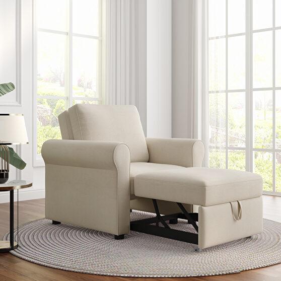 Beige linen 3-in-1 sofa bed chair, convertible sleeper chair bed