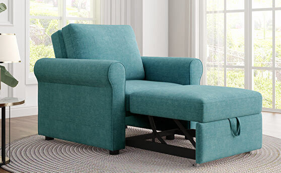 Teal linen 3-in-1 sofa bed chair, convertible sleeper chair bed