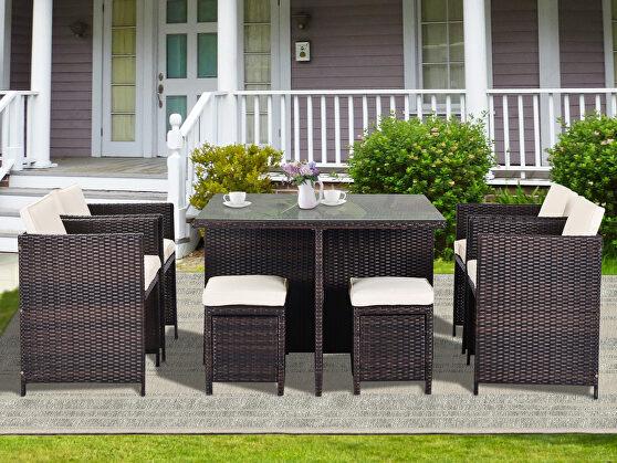 U style 9 piece rattan conversation patio dining set