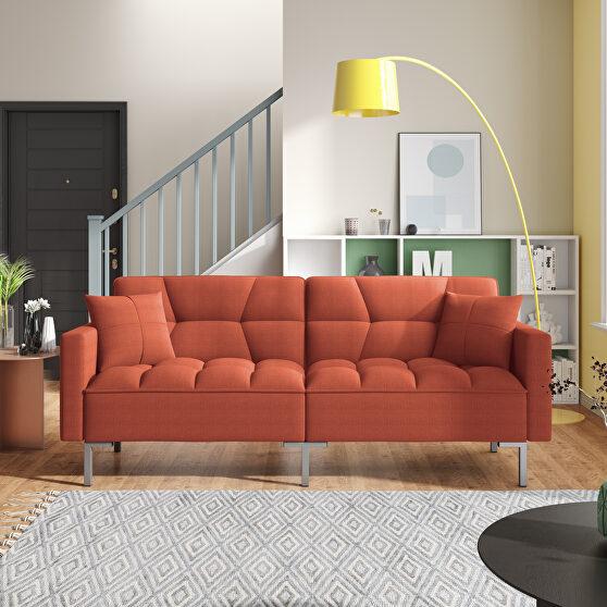 Orange linen upholstered modern convertible folding futon sofa bed